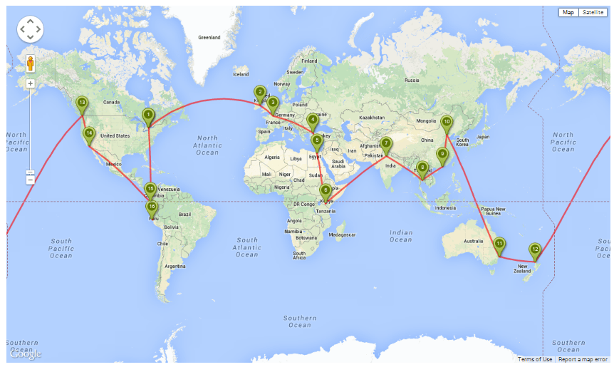 Here is the route we will follow during our 12-month adventure.