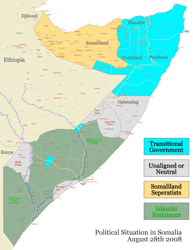map with somalia
