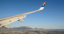 South African Airways flying over Cape Town