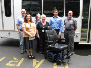 Administrators and staff from Gloria Dei's Plaza Senior Community along with representatives from Sunrise Medical and Delcrest Medical Services display the new state-of-the-art power chair donated by the Gloria Dei Communities Foundation. (From left to right) Kevin Smith, Maintenance Assistant; Miranda Wagner, Assistant Administrator; Donna Marie Saul, Director of Education and Resident Services; Elizabeth Williams, Community Administrator; Dan Clower, Sunrise Medical Account Manager; Joe Vanleer, Delcrest Medical Services Sales Associate