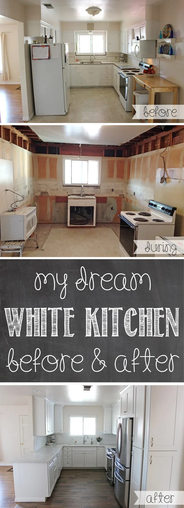 my dream white kitchen cost of kitchen remodel GORGEOUS Kitchen Remodel Lots of before and after photos tips for remodeling cost