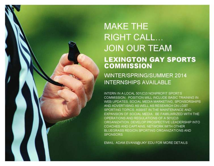 Lexington Gay Sports Commission Intern flyer