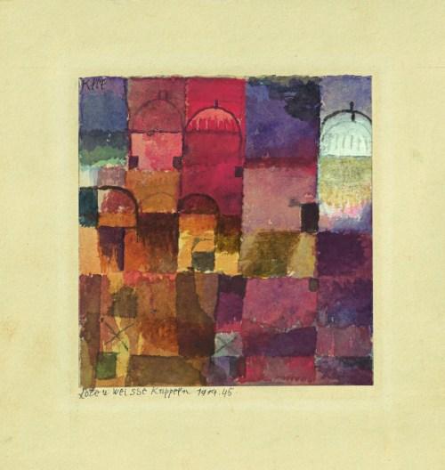 Paul Klee: Rote und weisse Kuppeln, 1914, Aquarell und Gouache auf Papier auf Karton, 14,6 x 13,7 cm. Kunstsammlung Nordrhein-Westfalen, Düsseldorf