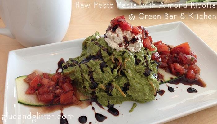 vegan restaurant green bar kitchen raw pesto pasta