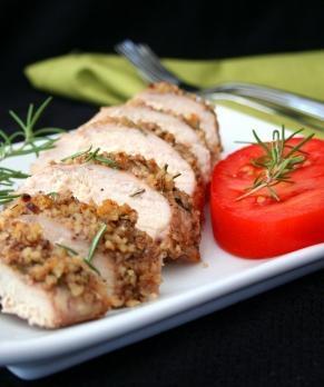 Gluten Free Rosemary Walnut Crusted Chicken   ~    By: Stuffed Pepper
