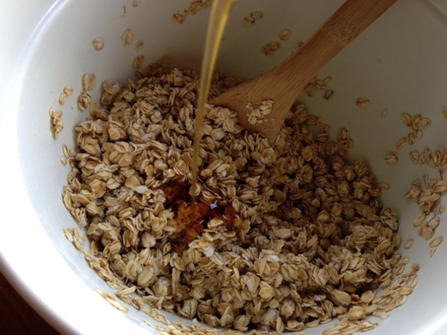 Add in melted coconut oil and pure maple syrup