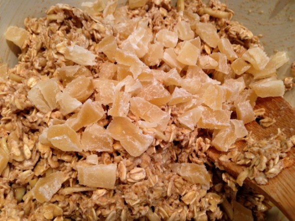 I added dried pineapple, but any dried fruit or a mix of dried fruit may be used.