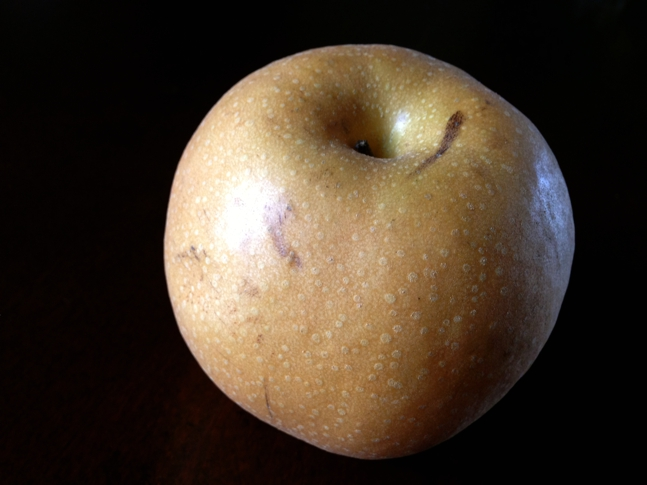Asian Pear- looks a bit like a golden delicious apple but is definitely a pear in taste & texture