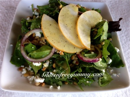 Asian Pear-Chevre Salad with Maple-Dijon Dressing