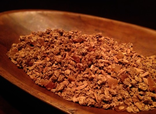 Bake the granola for two hours to dry the oats.