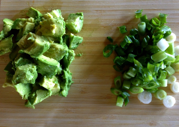 avocado and green onions