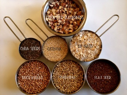 Seeds and grains for gluten-free power bars
