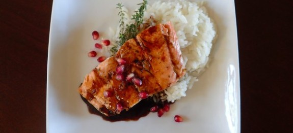 Grilled Salmon with Pomegranate Balsamic Reduction