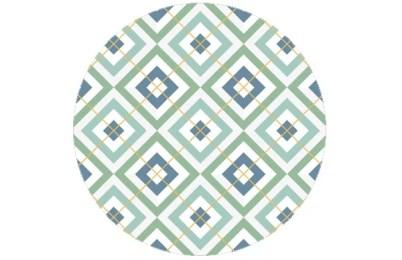 Farb angepasste Tapete Diamant grün mit Karo - gelb - Farrow and Ball Babouche
