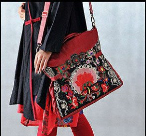 2013New-Original-Design-Ethnic-Style-Hand-Embroidery-Ladies-Handbag-Personalized-Embroidered-Tote-Bag-Leather-Large-Tote