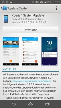 Sony Xperia Z3 Lollipop-Update