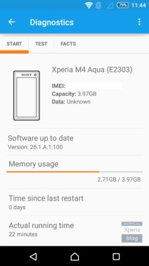 Sony Xperia M4 Aqua Speicher