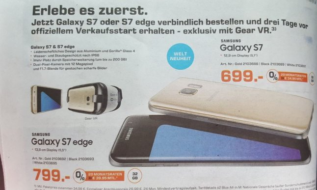 Samsung Galaxy S7 Saturn-Prospekt