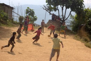 Childrens playing in a hilly village at West Sikim