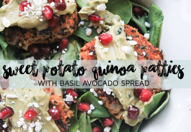 Sweet Potato Quinoa Patties with Basil Avocado Spread