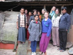 Host family, volunteer & staff at one of the homes in Jitpur