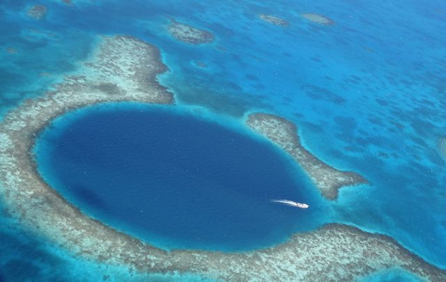 aerial view of great blue hole Belize