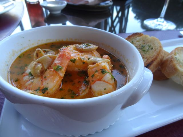 Poached Shrimp with garlic crostini