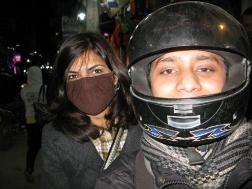 Motorcycling through the streets of Kathmandu, Nepal