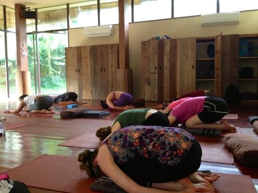 Doing yoga every morning in Bali, Indonesia
