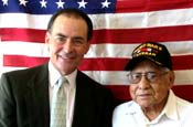 Harris County Treasurer Orlando Sanchez with WWII Veteran Marcos Barelas