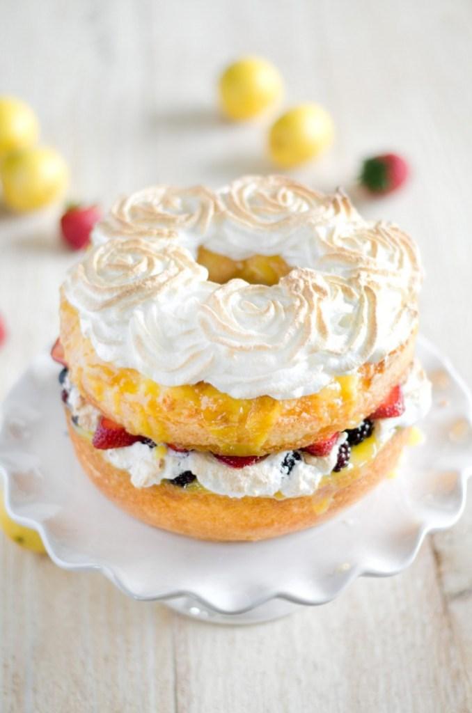 Angel Food Cake with Lemon Curd, Fresh Berries and Meringue Rosettes ...