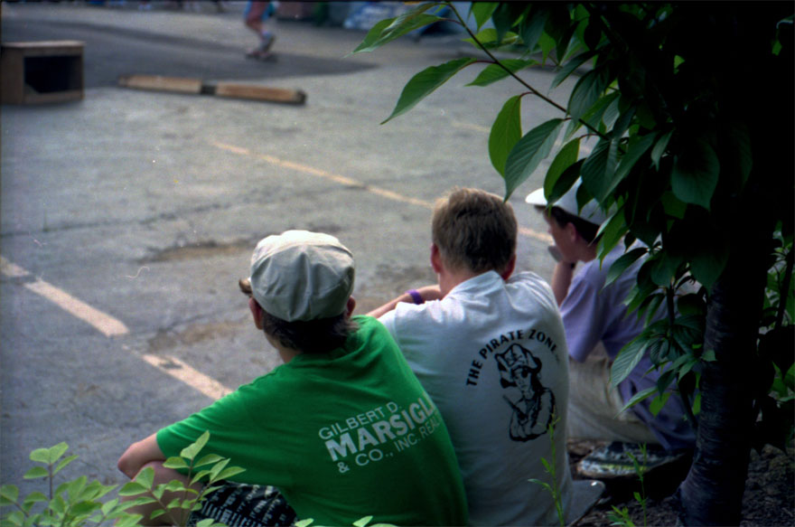 Ed and Brian watching a street contest.