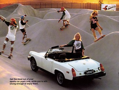 MG Midget ad at Carlsbad during the height of the '70s skate park craze.