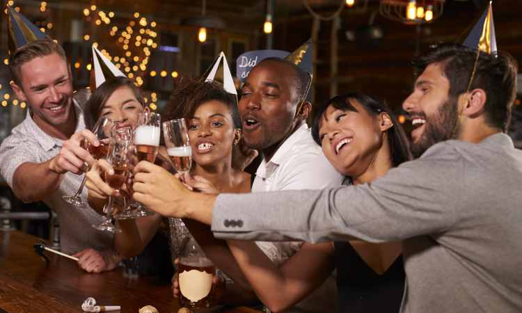 friends celebrating at new years party