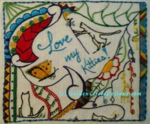 Love Kitties embroidery