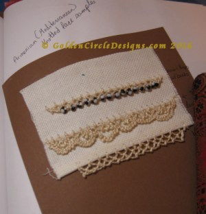 Armenian knotted lace glued into sketchbook (or studio journal)