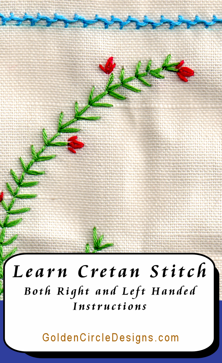 Cretan stitch is a versatile looped stitch. As you can see by the image to the left, I love using it for borders. In this case, for the waterline.