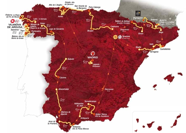 vuelta a espana map strecke 2013