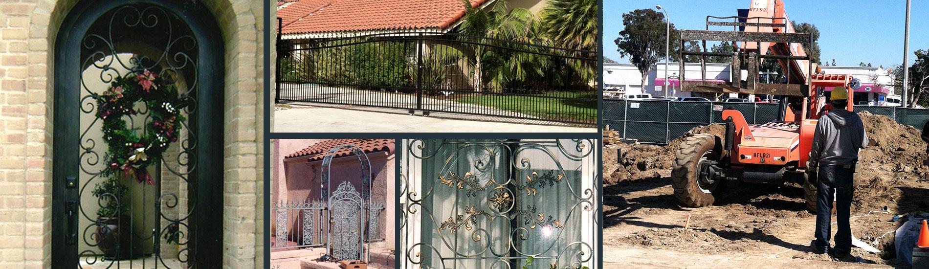 Iron gate, fences, handrails