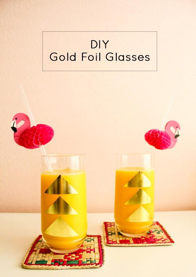 Gold Foil Glasses and Tray Title