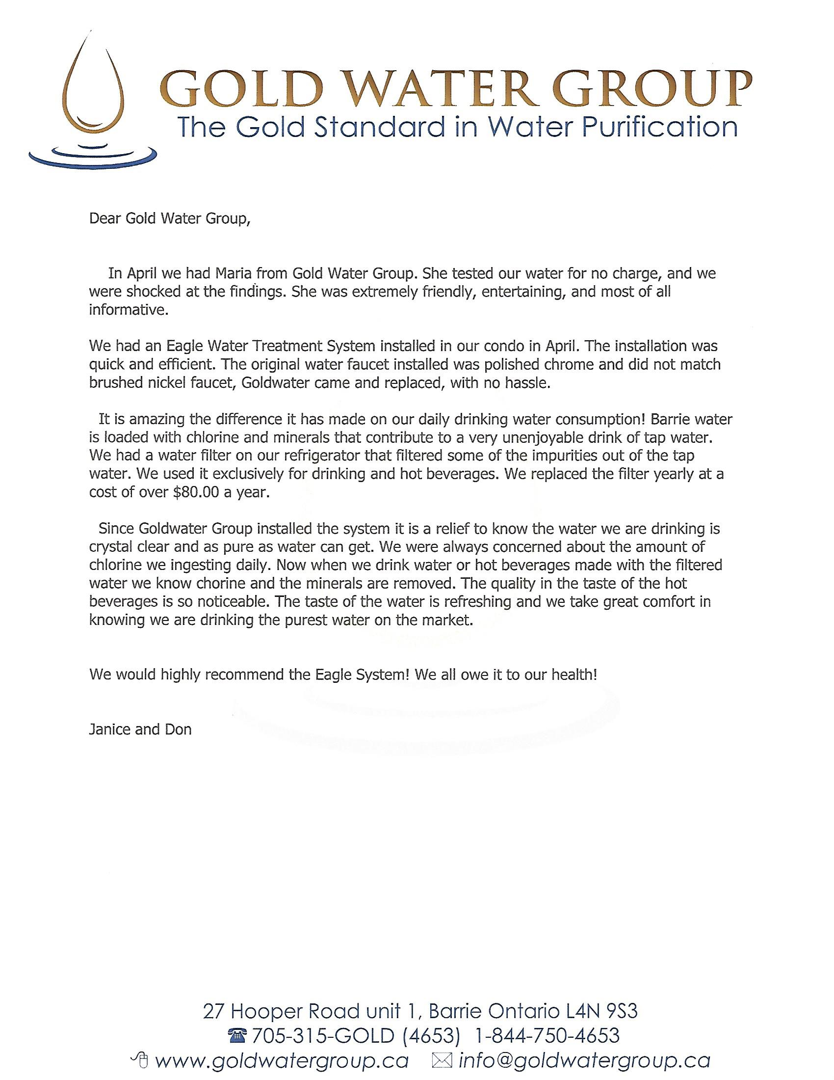 Our great on-line reviews | Gold Water Group