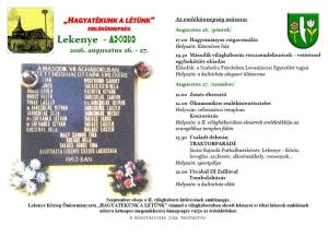 Emlékünnepséget rendeznek Lekenyén
