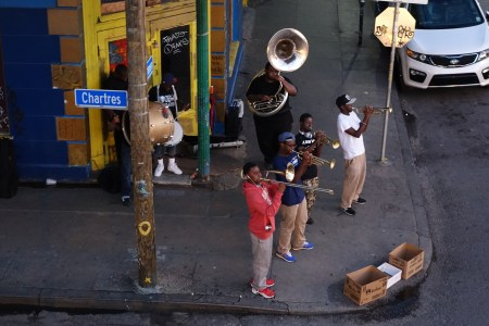 Brass Bands take it to the streets, on Frenchmen Street in the Marigny (pictured) and in the French Quarter
