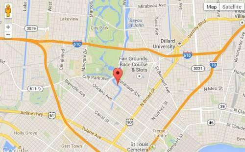 "Magnolia ""Cabrini"" Bridge stretches across Bayou St. John near City Park. Image courtesy Google Maps."