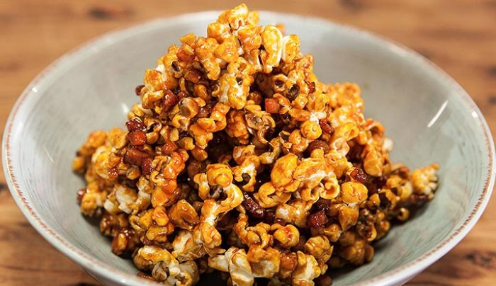 Bacon and Cashew Caramel Popcorn - Good Chef Bad Chef