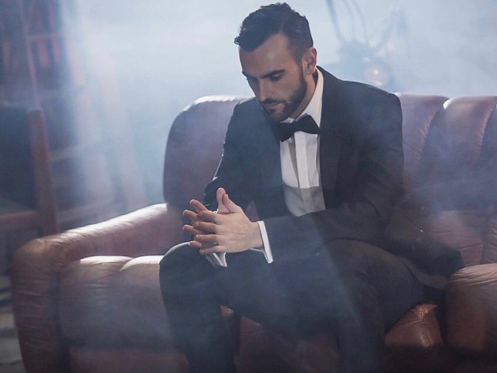 Yeah, yeah, we know, hon. Couches are so much nicer in Eurovision's greenroom. Pic from Marco Mengoni's Facebook