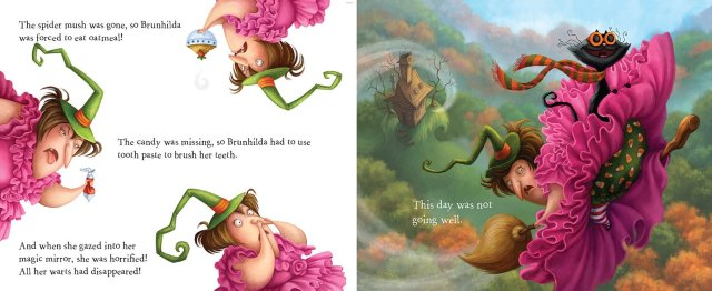Interior spread of Brunhilda in ruffly pink ball gown Brunhilda's Backwards Day
