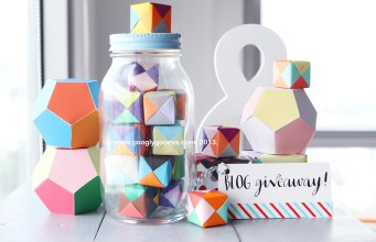 Happy Things Blog Giveaway on Googly Gooeys (paper cubes, dodecahedrons & ampersand)