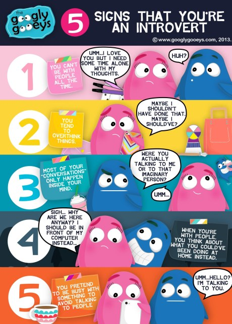"Googly Gooeys 5 Signs That You're an Introvert 1) You can't be with people all the time. ""Umm...I love you but I need some time alone with my thoughts."" ""Huh?"" 2) You tend to overthink things. ""Maybe I shouldn't have done that...Maybe I should've?"" 3) Most of your ""conversations"" only happen inside your mind. ""Were you actually talking to me or to that imaginary person?"" ""Umm..."" 4) When you're with pepole, you think about what you could've been doing at home instead. ""Sigh...Why are we here anywya? I should be in front of my computer instead."" 5) You pretend to be busy with something to avoid talking to people. ""Umm...hello? I'm talking to you."""