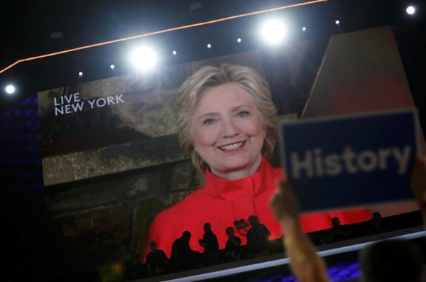 Hillary Clinton shatters the Democratic glass ceiling.